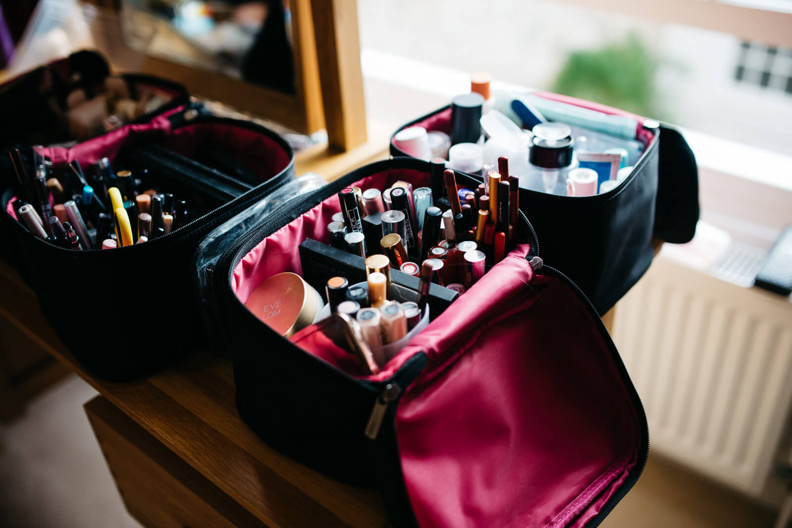 Make up artists make up bag during bridal preparations near the Roman Baths Wedding venue