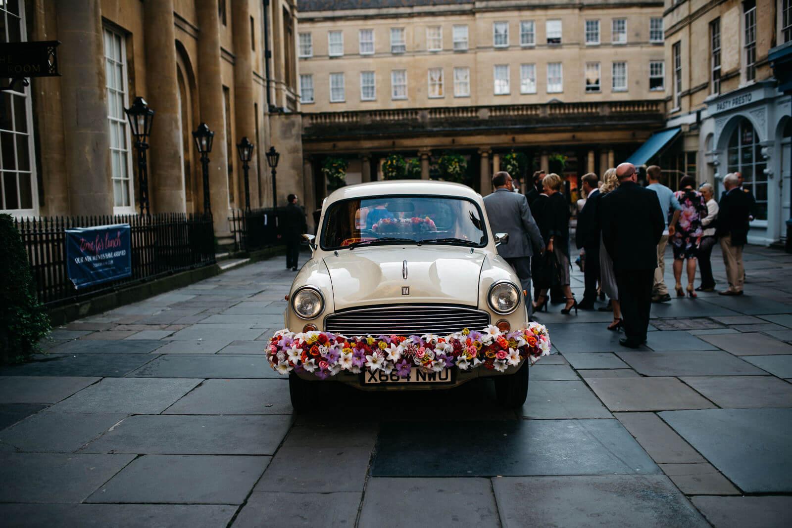 Empress of India wedding car waiting outside the Roman Baths