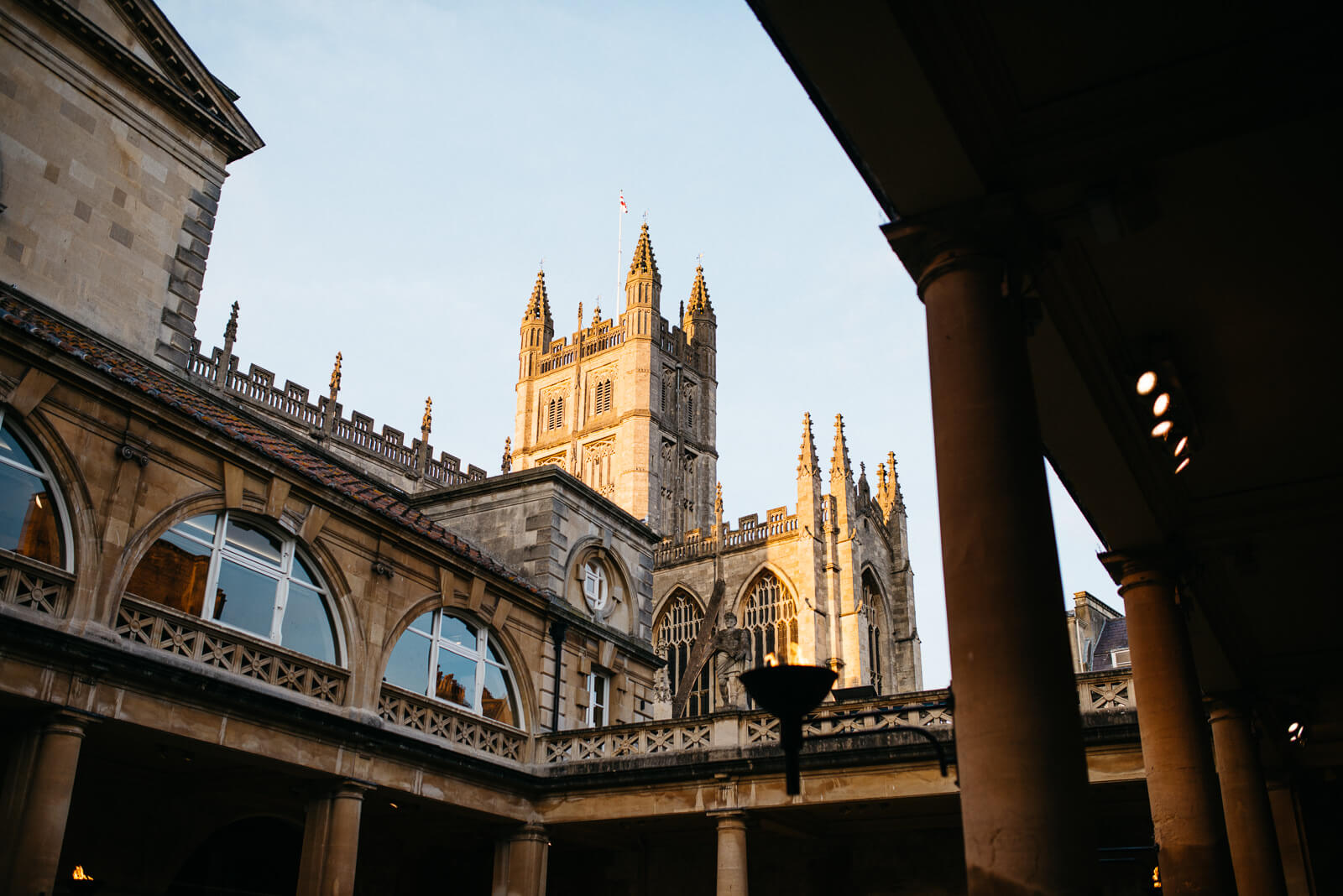Bath abbey as seen from the Roman Baths