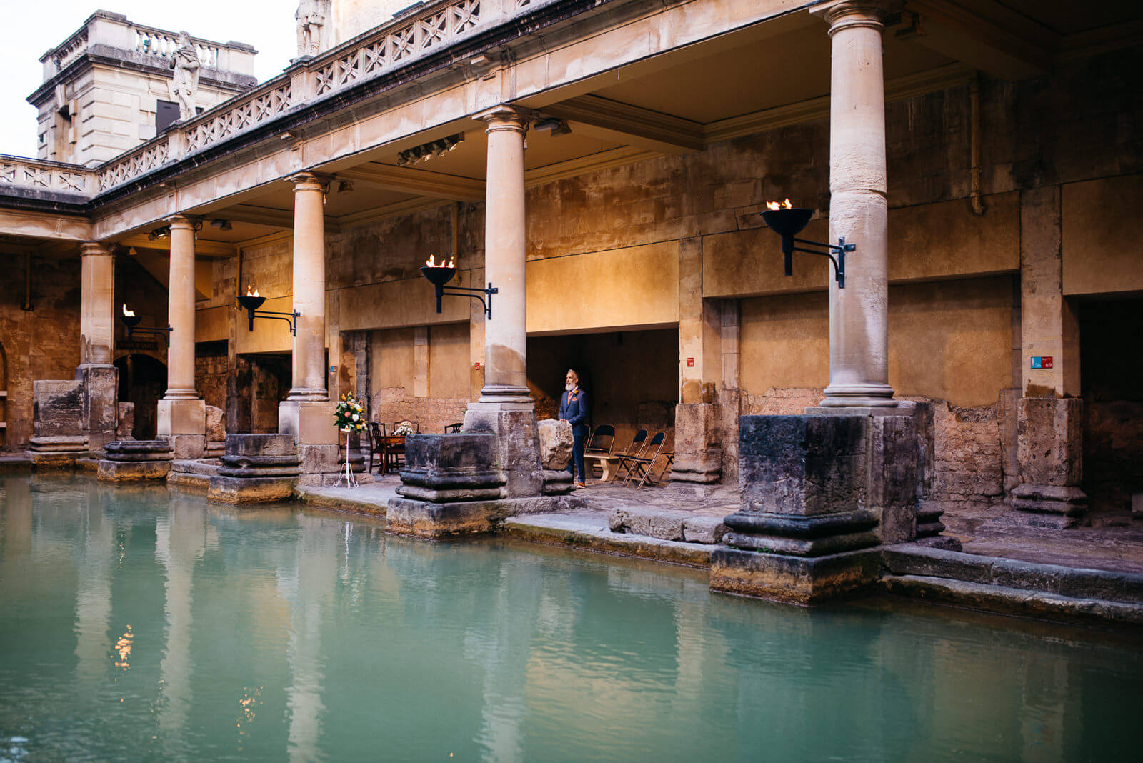 Groom waiting at Roman Baths for Brides arrival