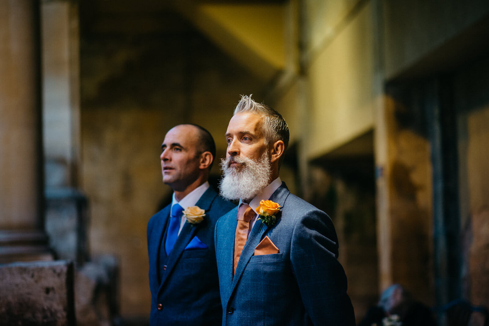 Groom and Bestman waiting for Brides arrival at the Roman Baths