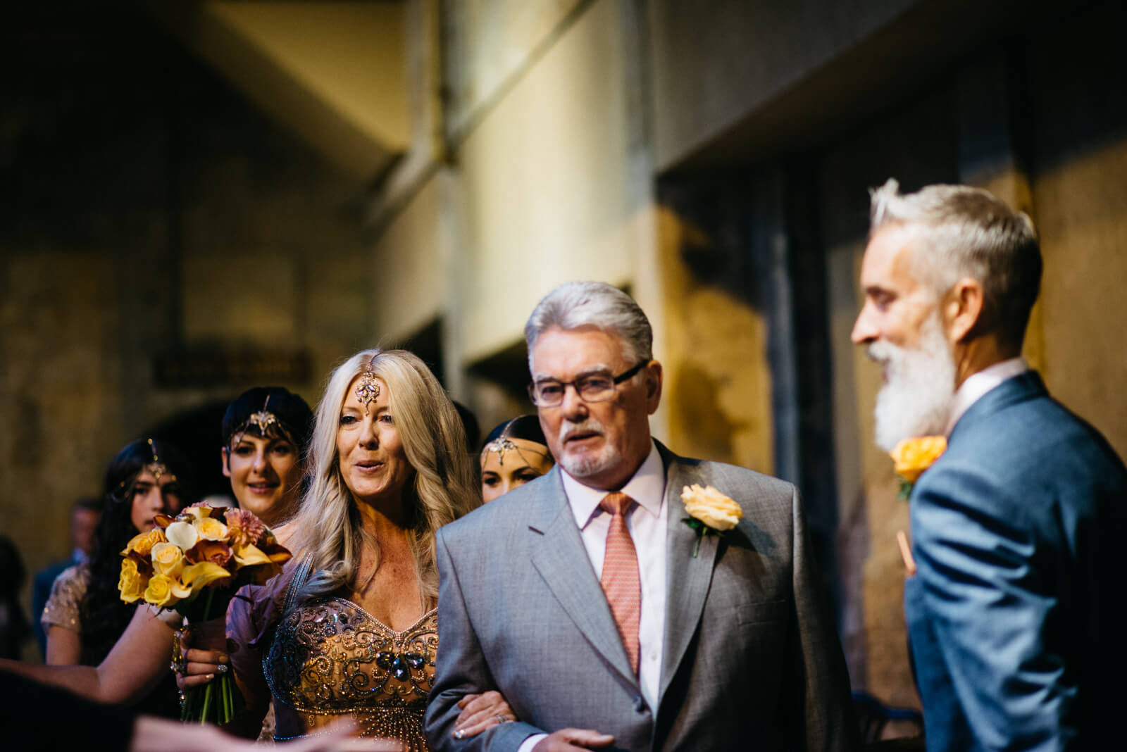Stylish bride and her father arriving at stylish Bath Wedding ceremony at Roman Baths