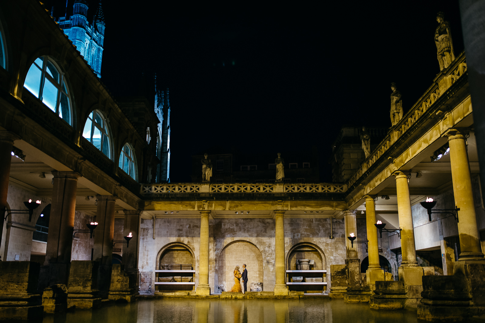 Bride and groom portrait at stylish Bath wedding at the Roman Baths