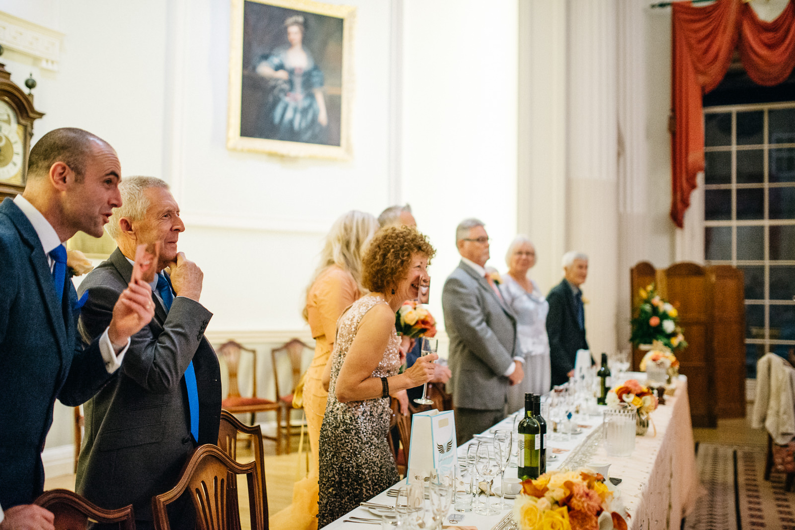 Happy guests at the Pump House following Roman Baths wedding ceremony
