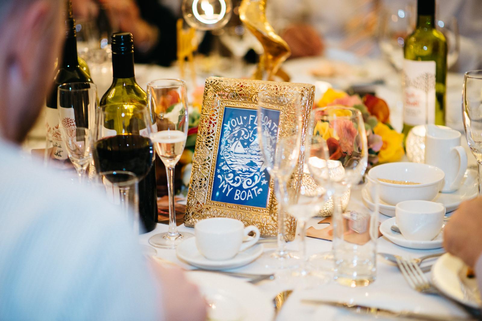 Stylish naval theme table decor at alternative wedding at the Pump House