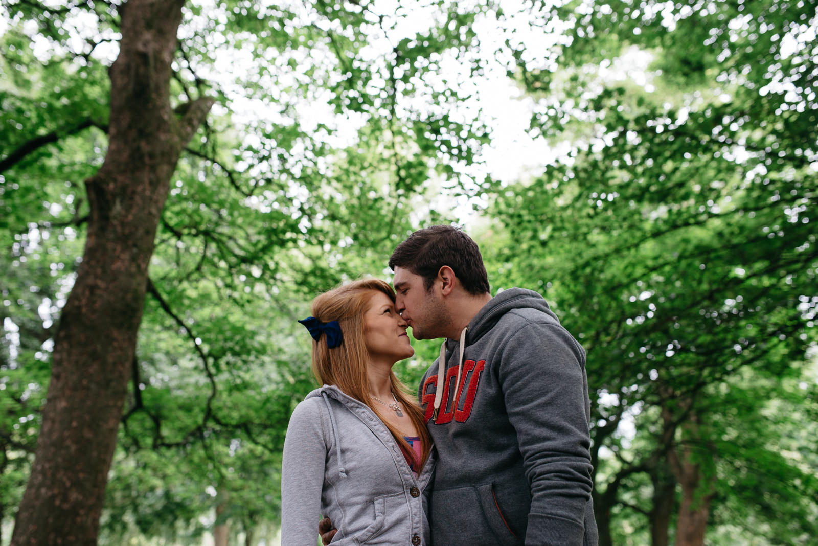 Relaxed portrait photograph of couple during session at bute park