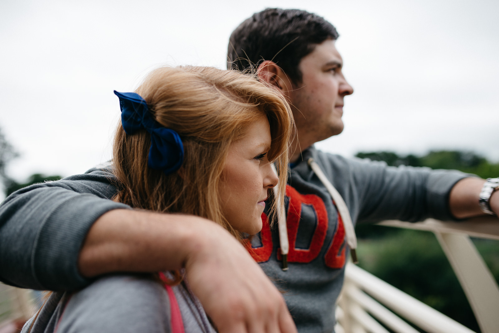 Jo & Lloyd looking along the River during their alternative engagement session