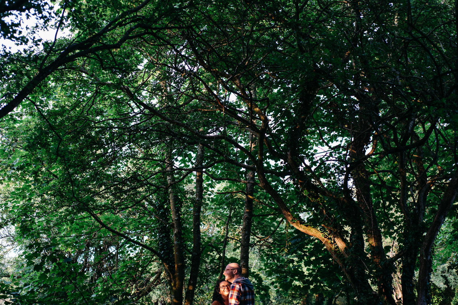 Couple under tree canopy during engagement session in the woods at Cosmeston Lakes country park