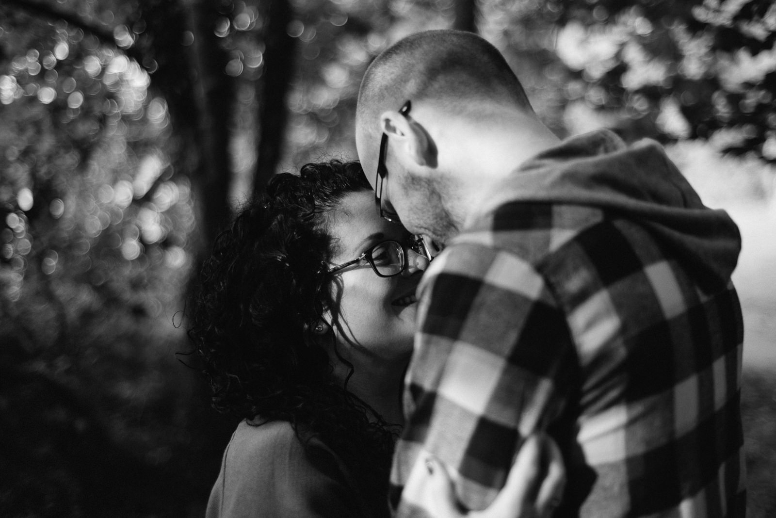 Portrait of bride and groom during non-traditional couple at Lakeside location