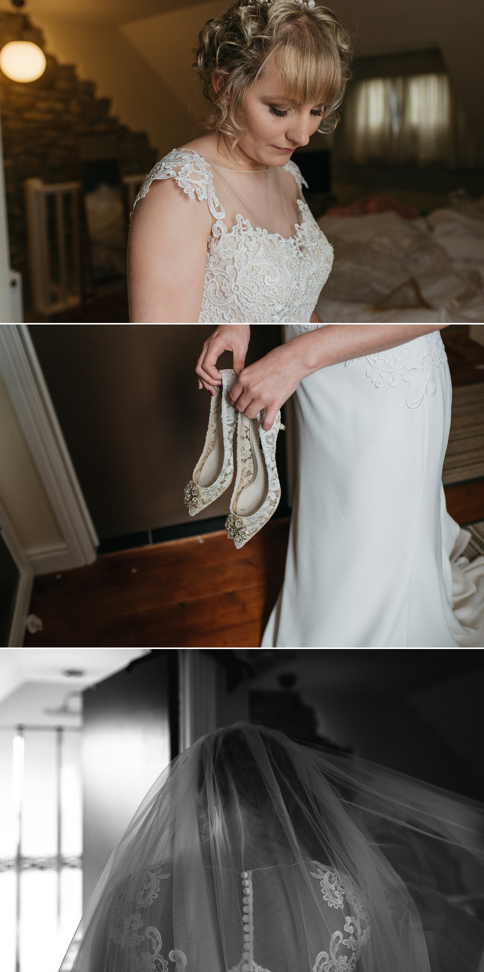 creative bridal portraits during bridal preparation