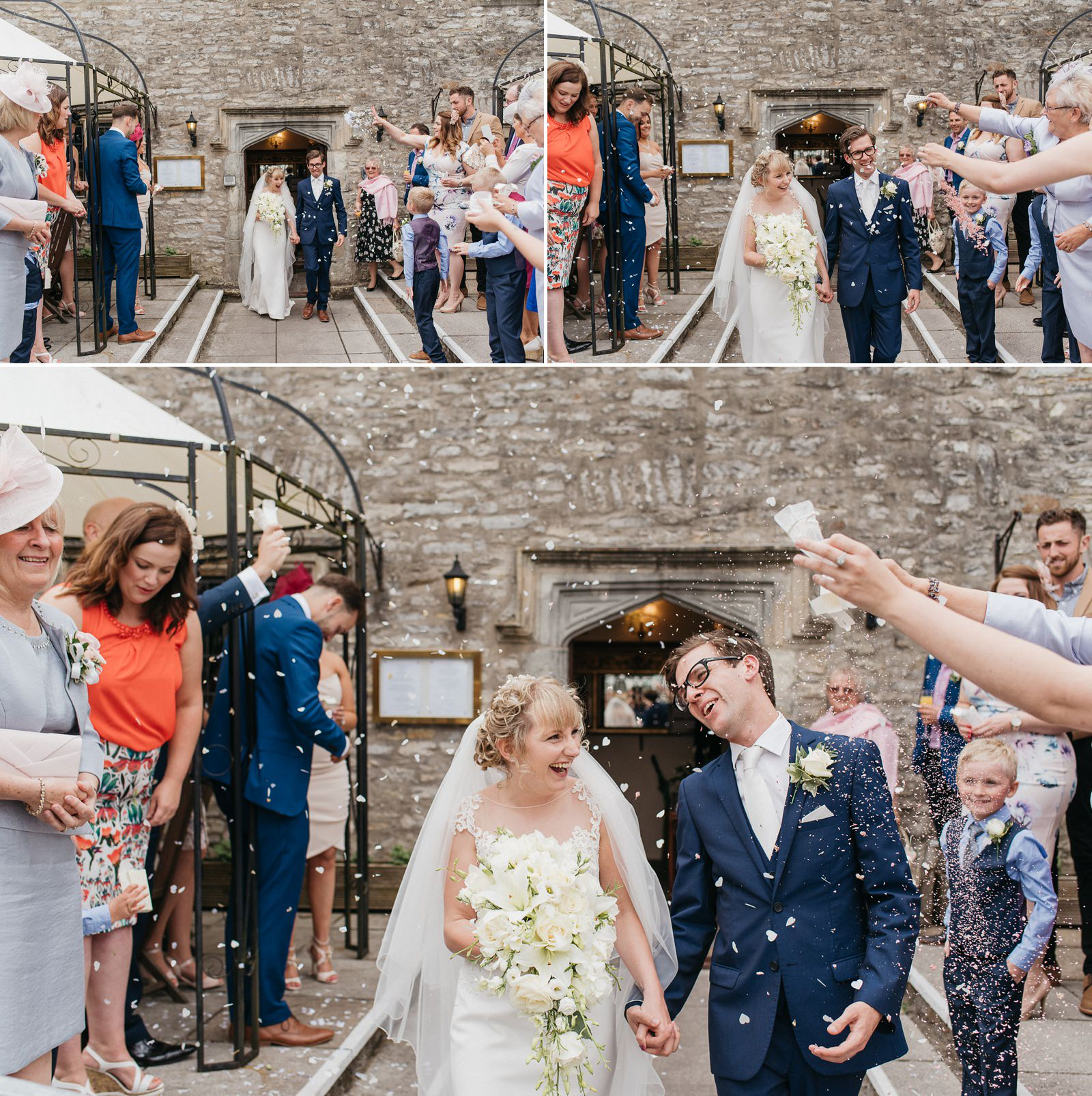 Confetti at relaxed country pub wedding in South Wales