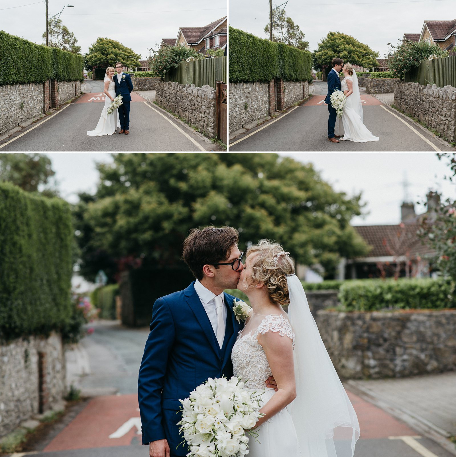 Bride and groom portraits, relaxed wedding photographer, Bridgend