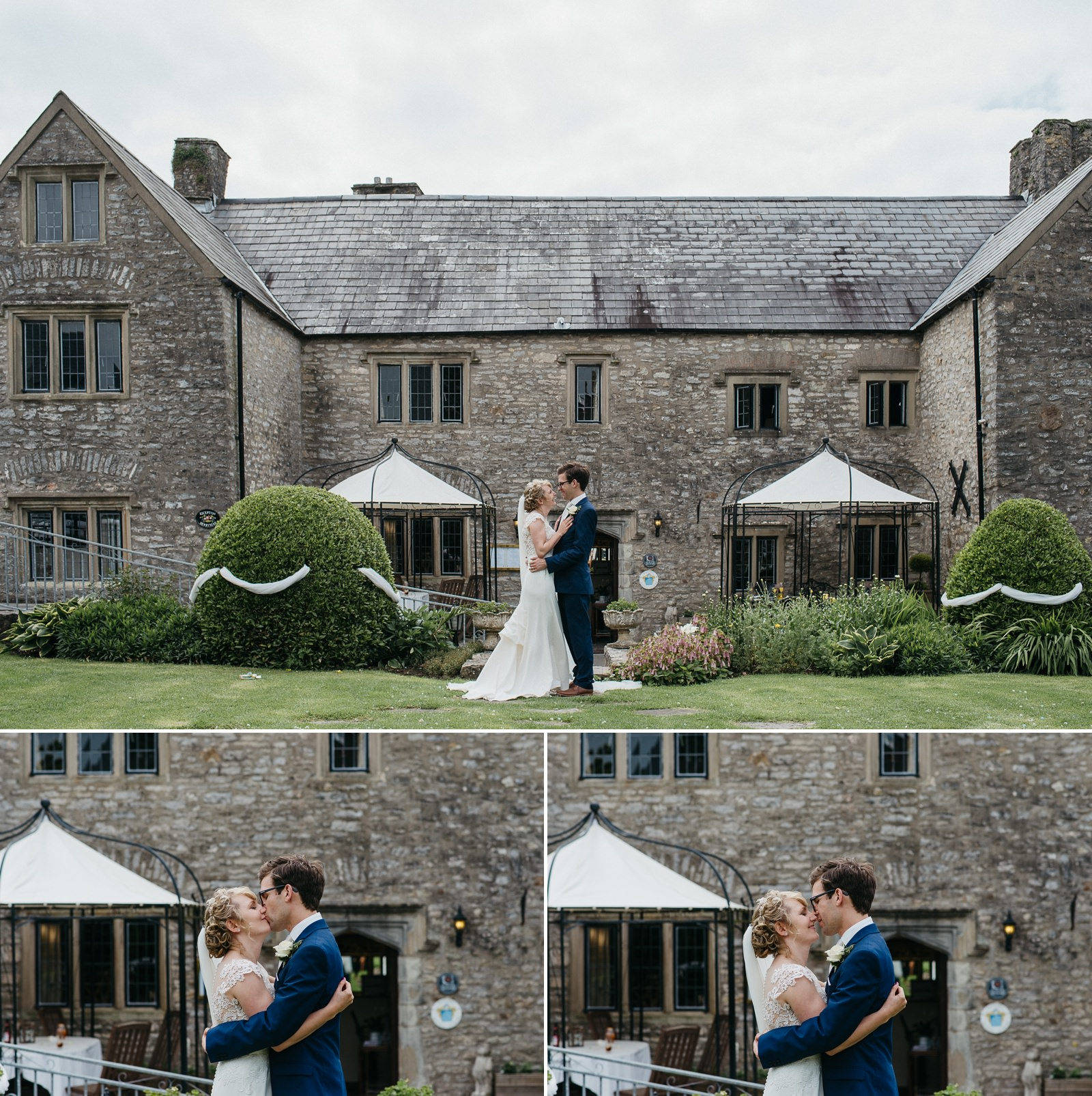 Bride and groom photography in front of The Great House Hotel, Laleston Bridgend