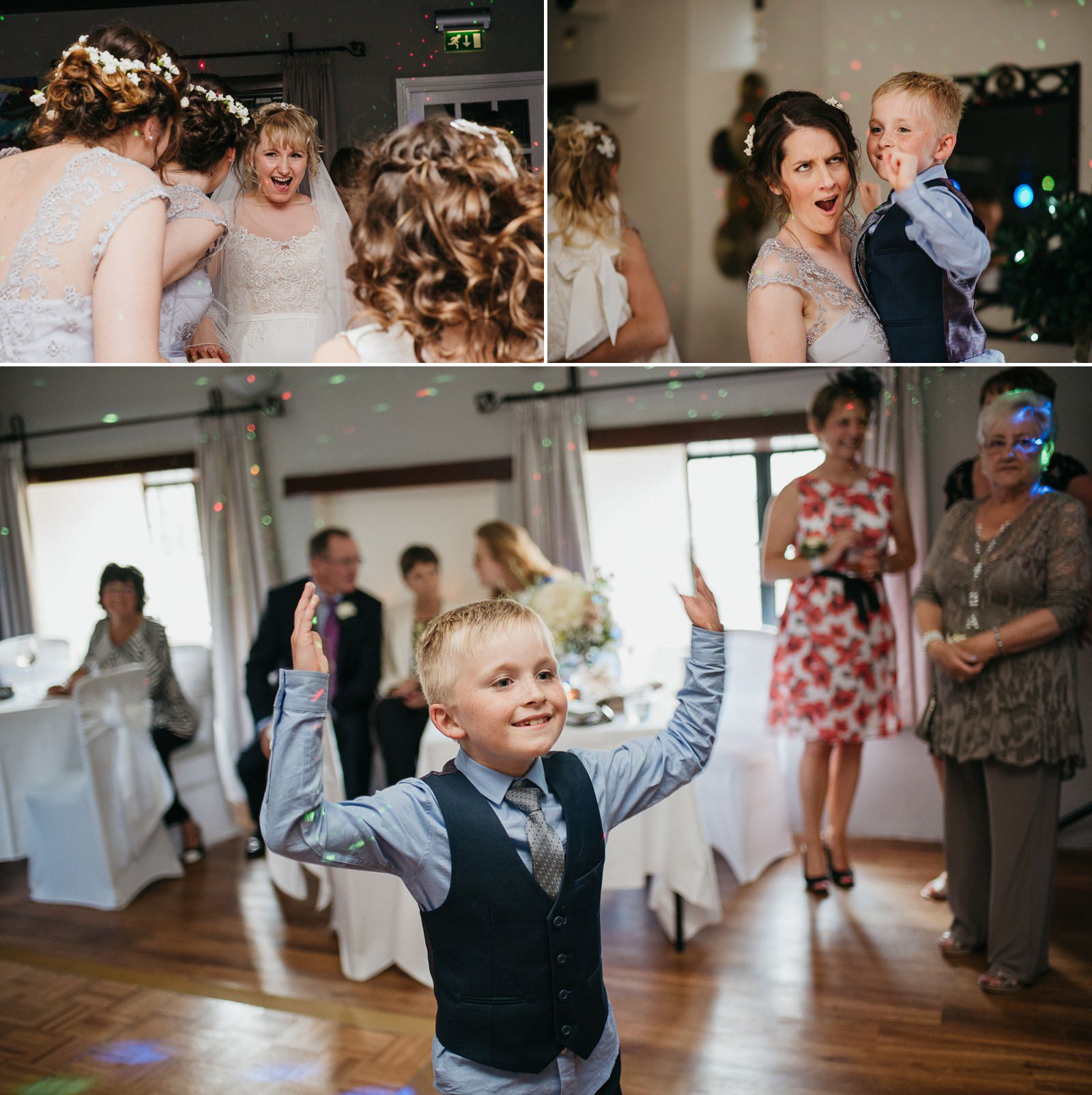 Dancing at relaxed South Wales wedding at The Great House Hotel, Laleston