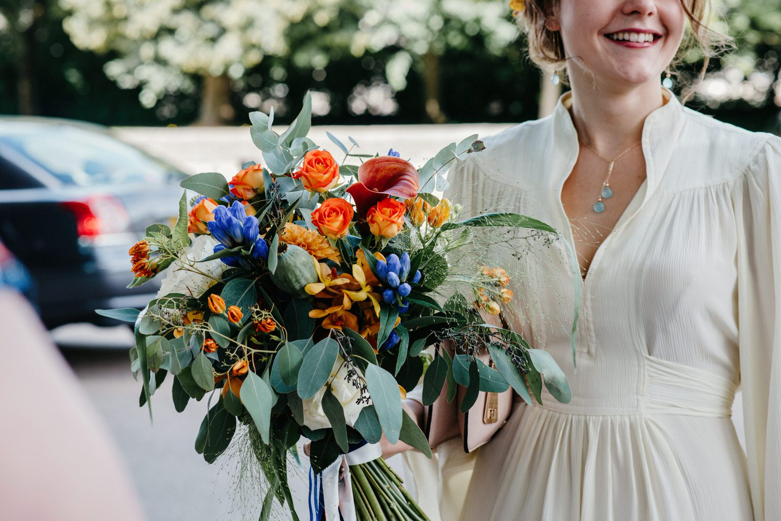 Colourful wedding flowers at a Creative, quirky city wedding in Cardiff