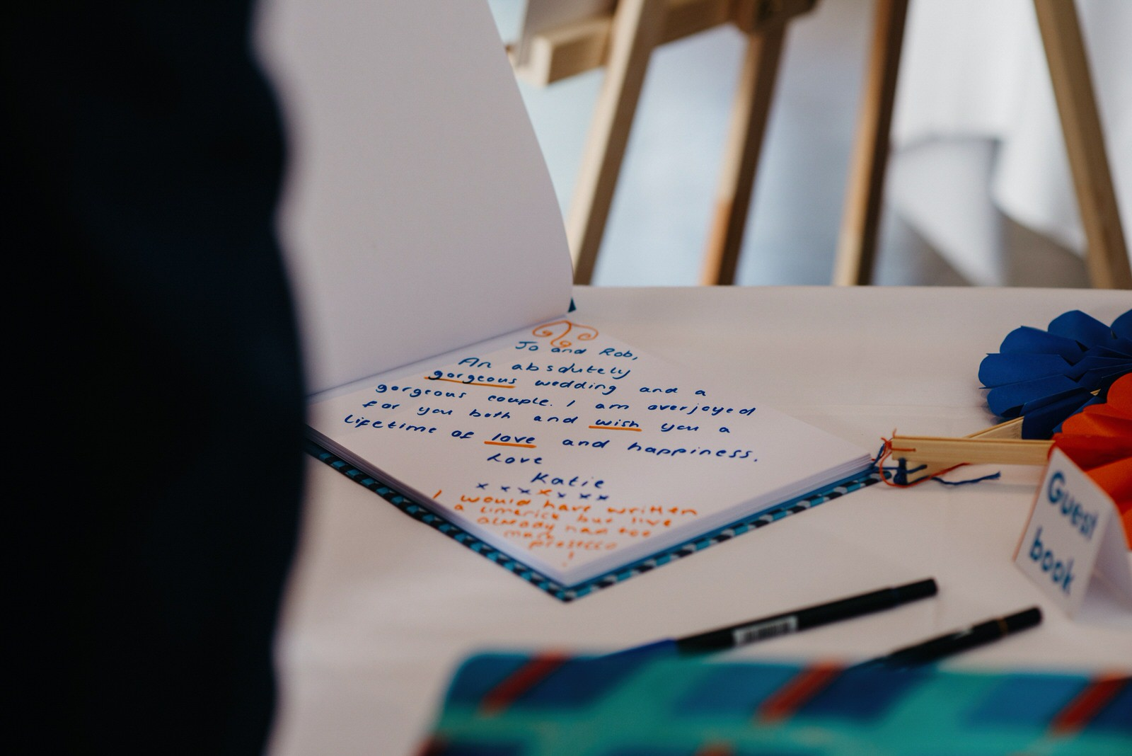 quirky modern guest book at wedding
