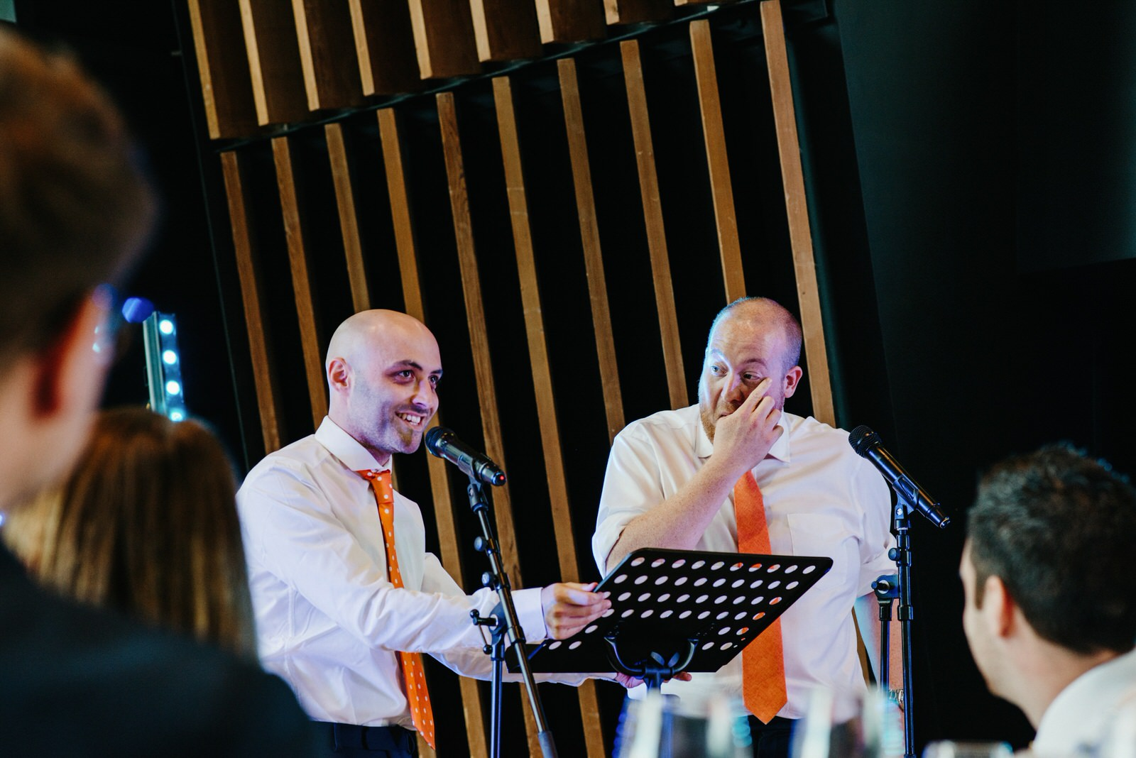 groomsmen delivering speeches at the Royal College of Music and Drama