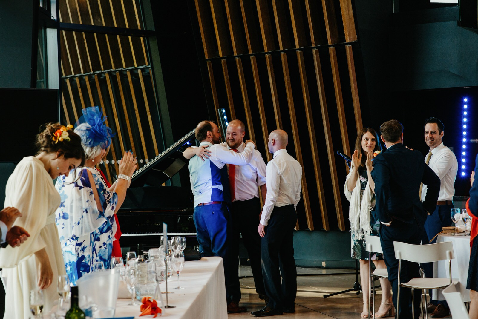 Groom thanking his groomsmen after the speeches at the Royal College of Music and Drama