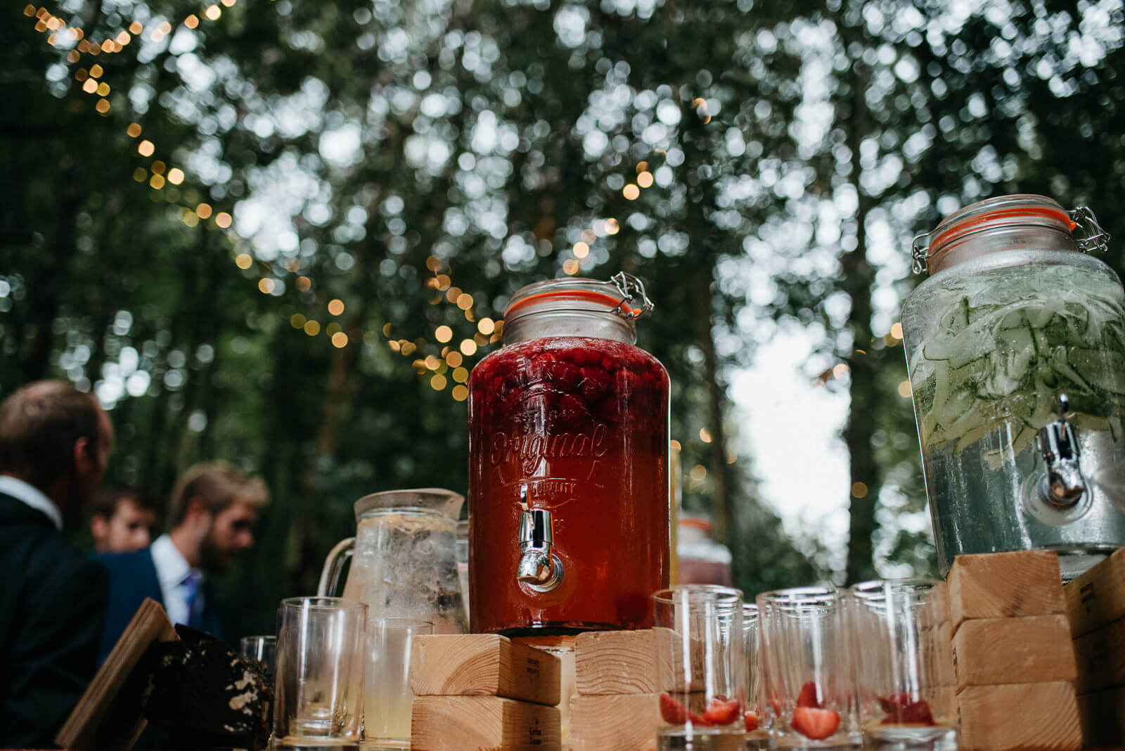 Punch cocktail in large mason jar for tipi wedding in Shropshire