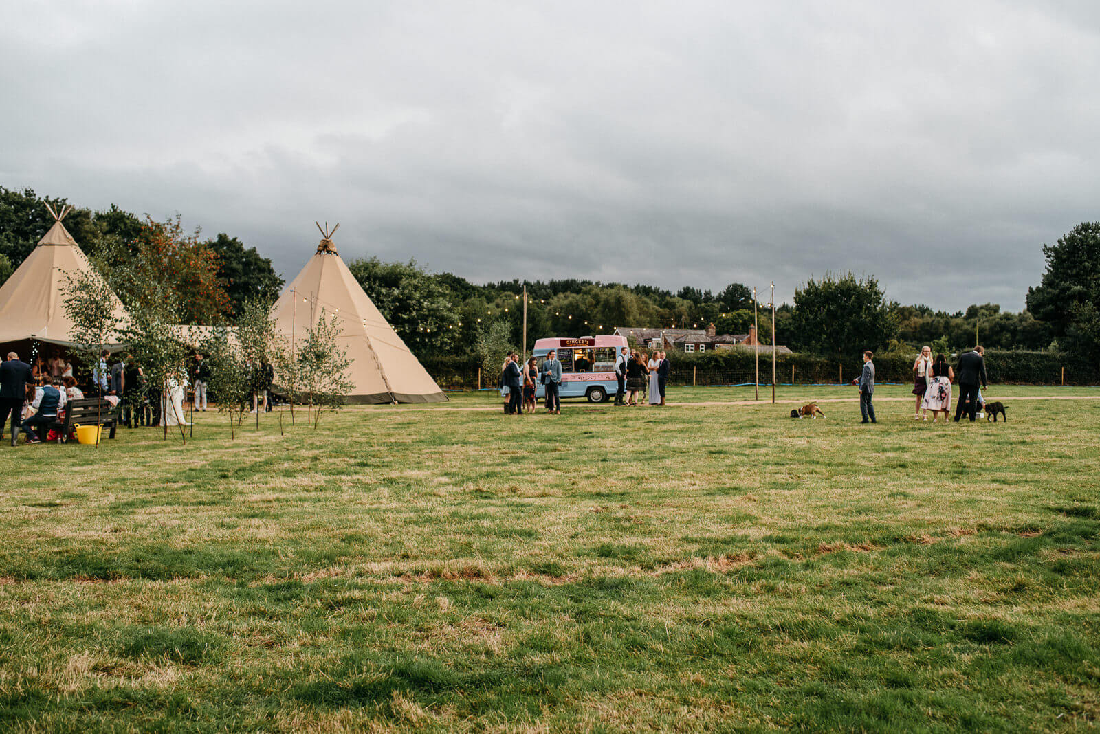 Landscape hotograph of wedding reception tipi venue in Shropshire