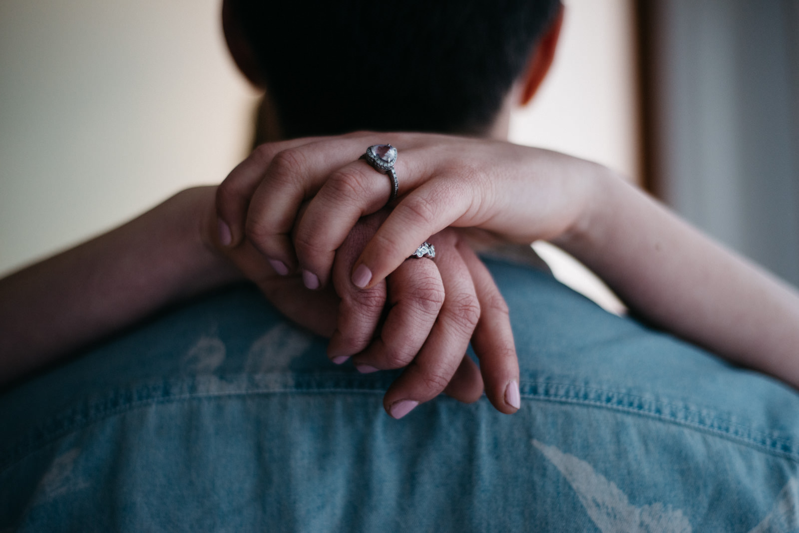 Detail photograph of brides rings during their Shoreditch Couple Shoot