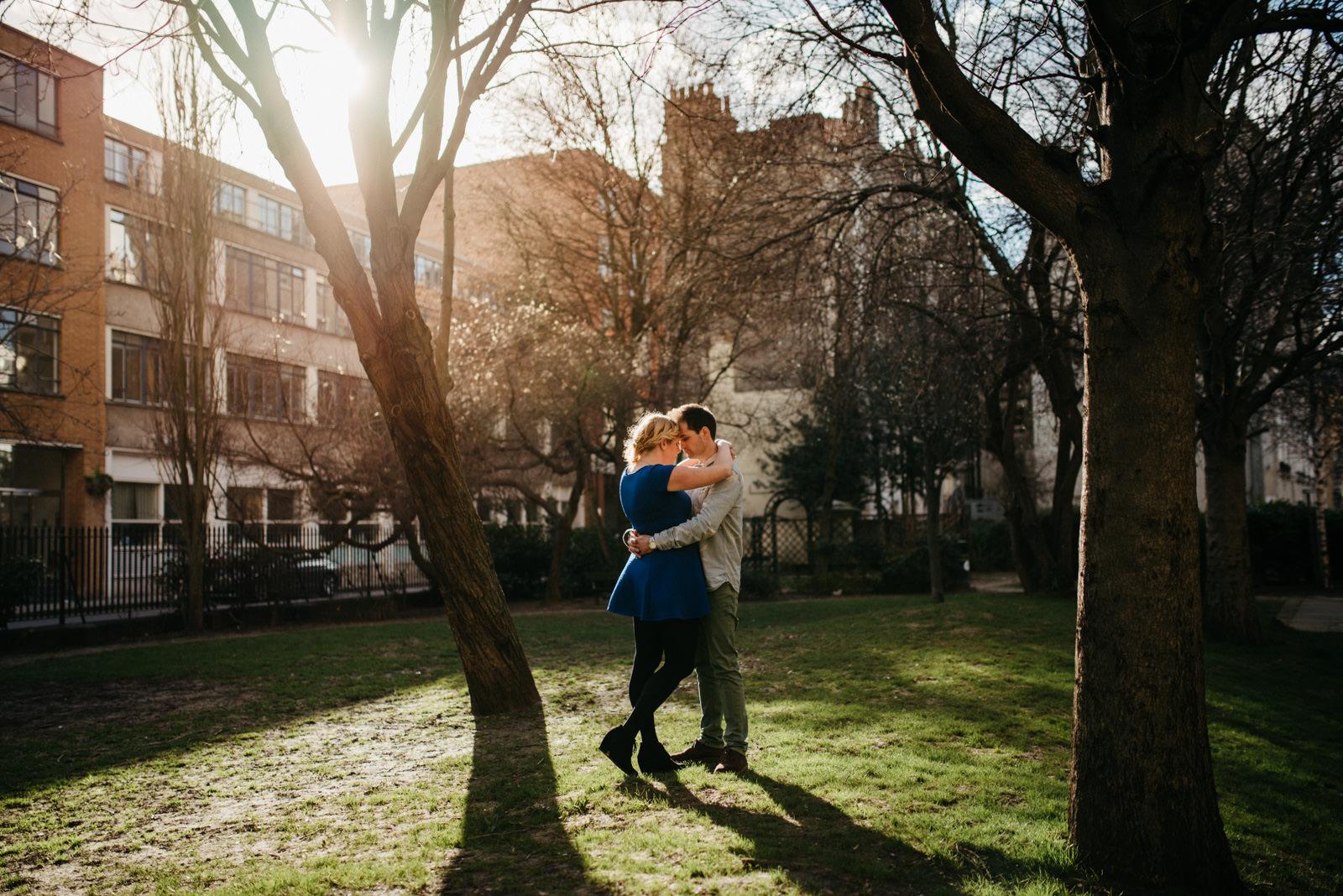 Portrait of London couple during sunny Shoreditch couple shoot