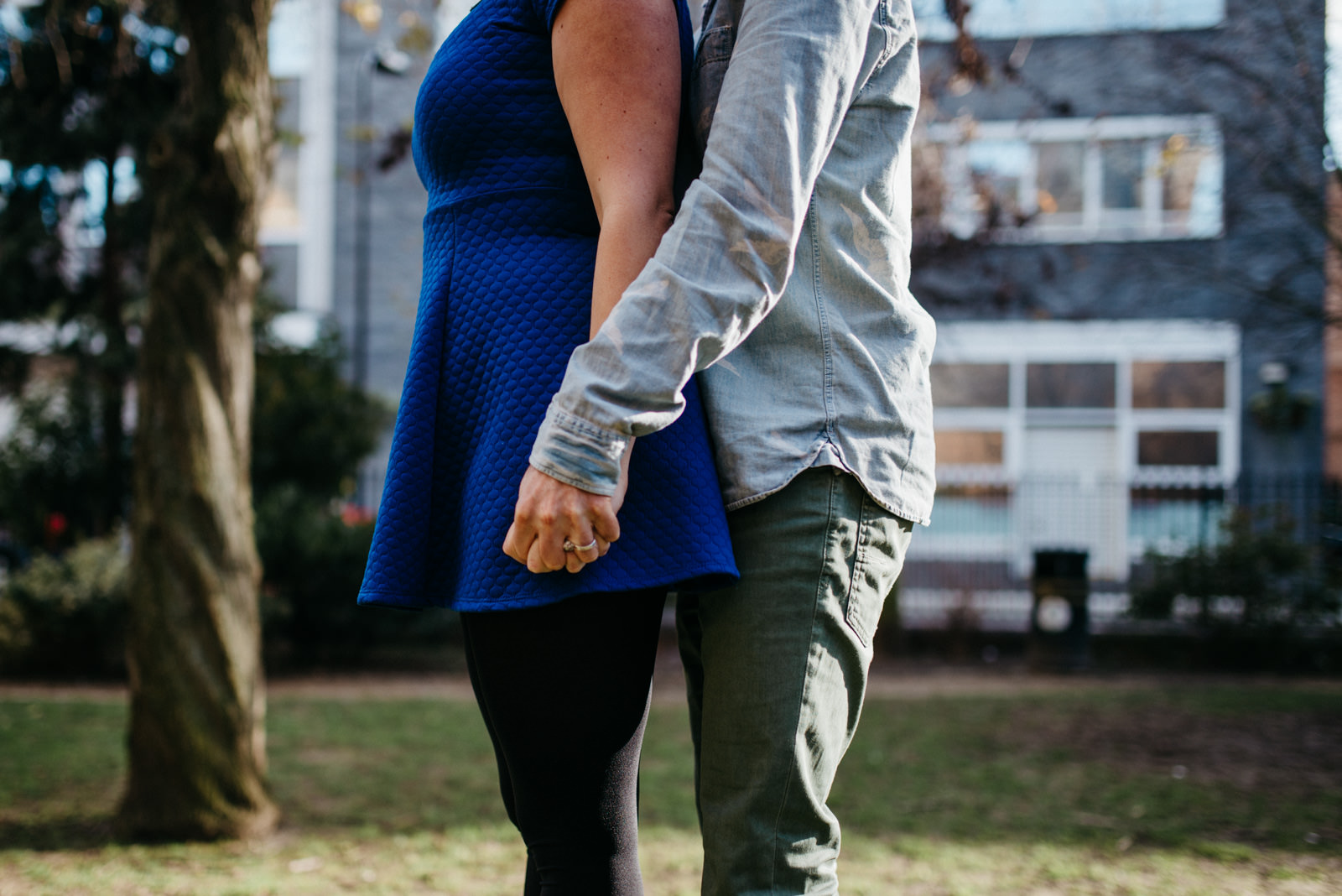 Detail photograph of couple holding hands during Shoreditch couple session in East London