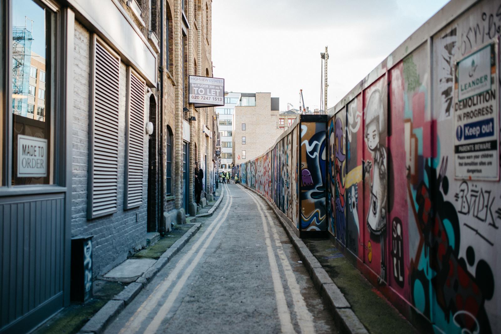 Shoreditch backstreets full of graffiti and texture