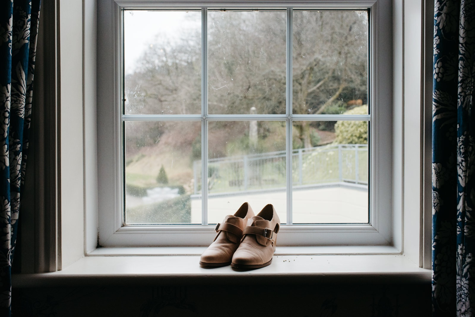 Brides alternative asos shoes on windowsill of New House Hotel, Lisvane Cardiff