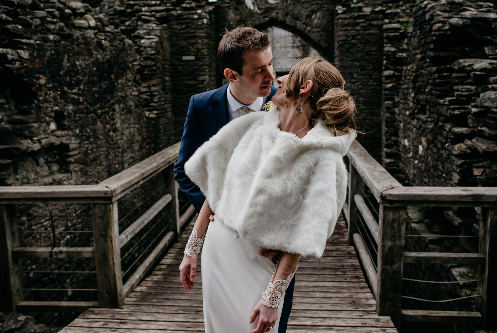 Stylish bride and groom at Caerphilly Castle wedding