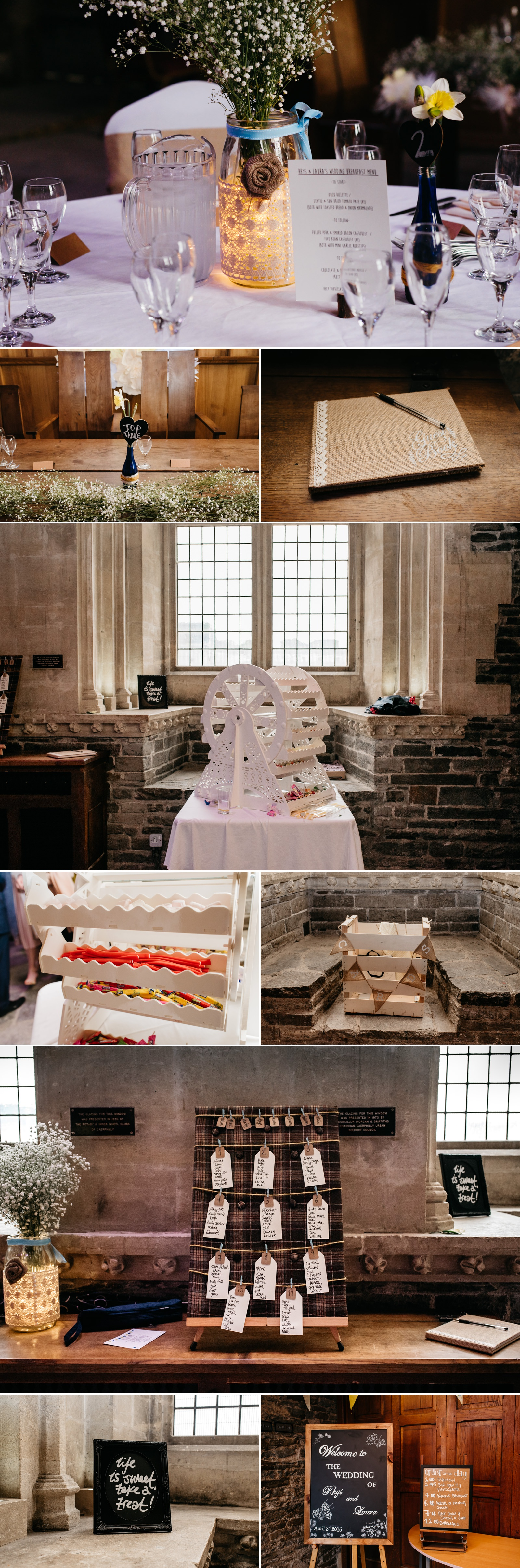Decor details for wedding at Caerphilly Castle in South Wales