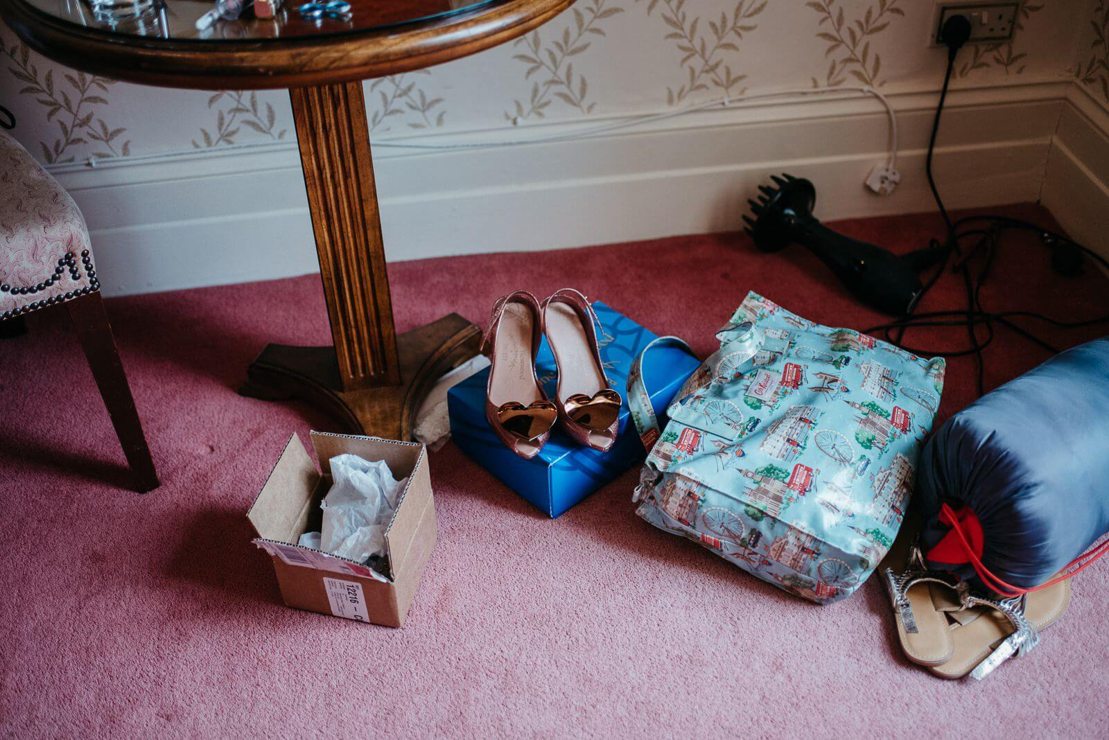Brides shoes and other items during bridal prep