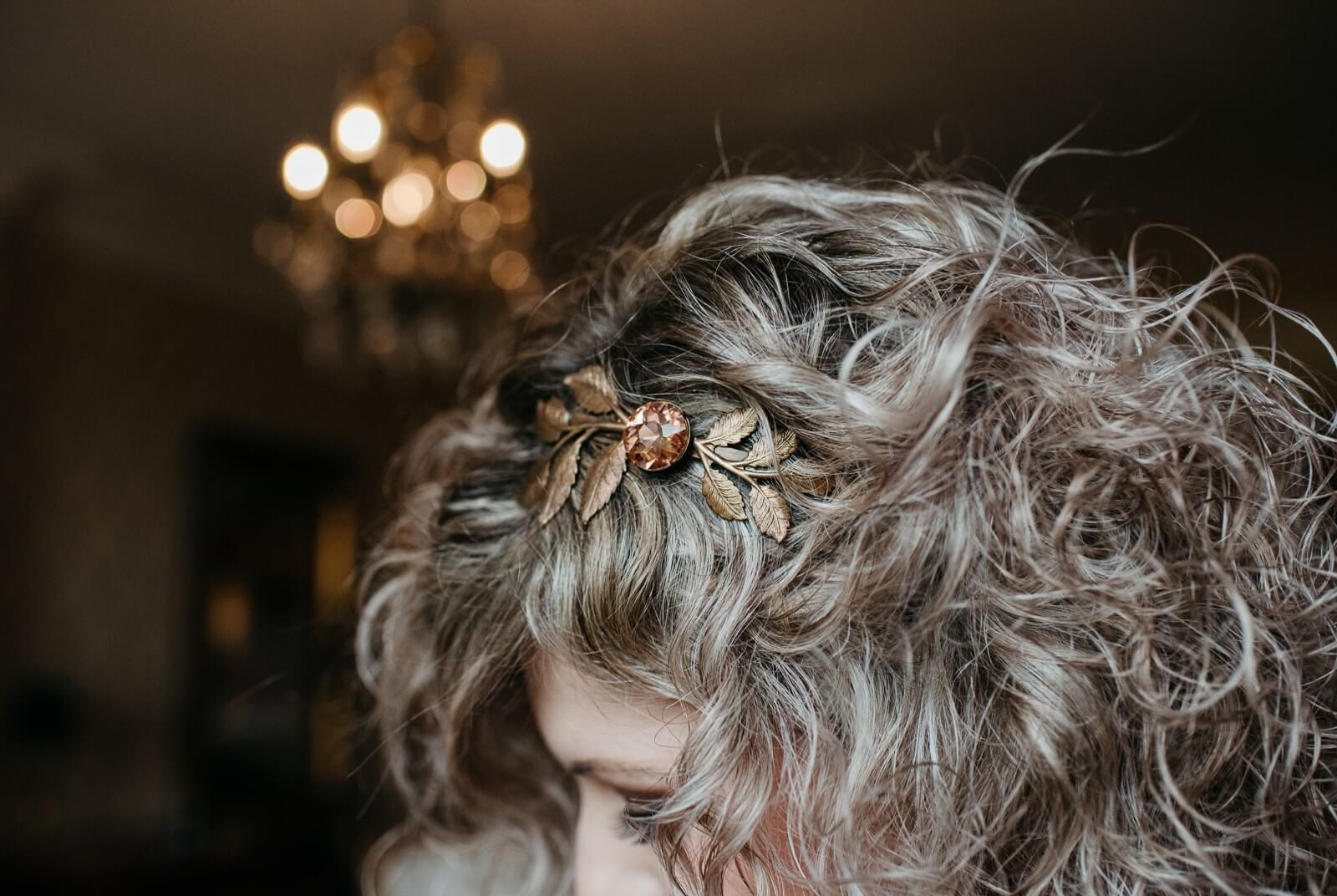 Brides copper/gold hair piece at New House Hotel, Cardiff