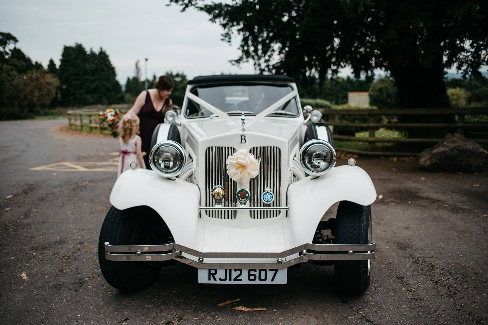 Bride arrives at Ty Mawr in classic car