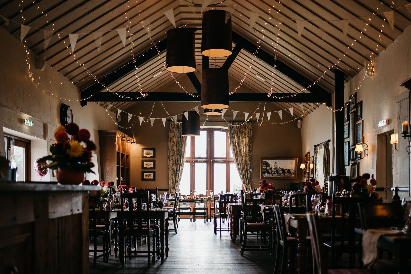 Barn wedding venue with fairy lights at Ty Mawr in Cardiff