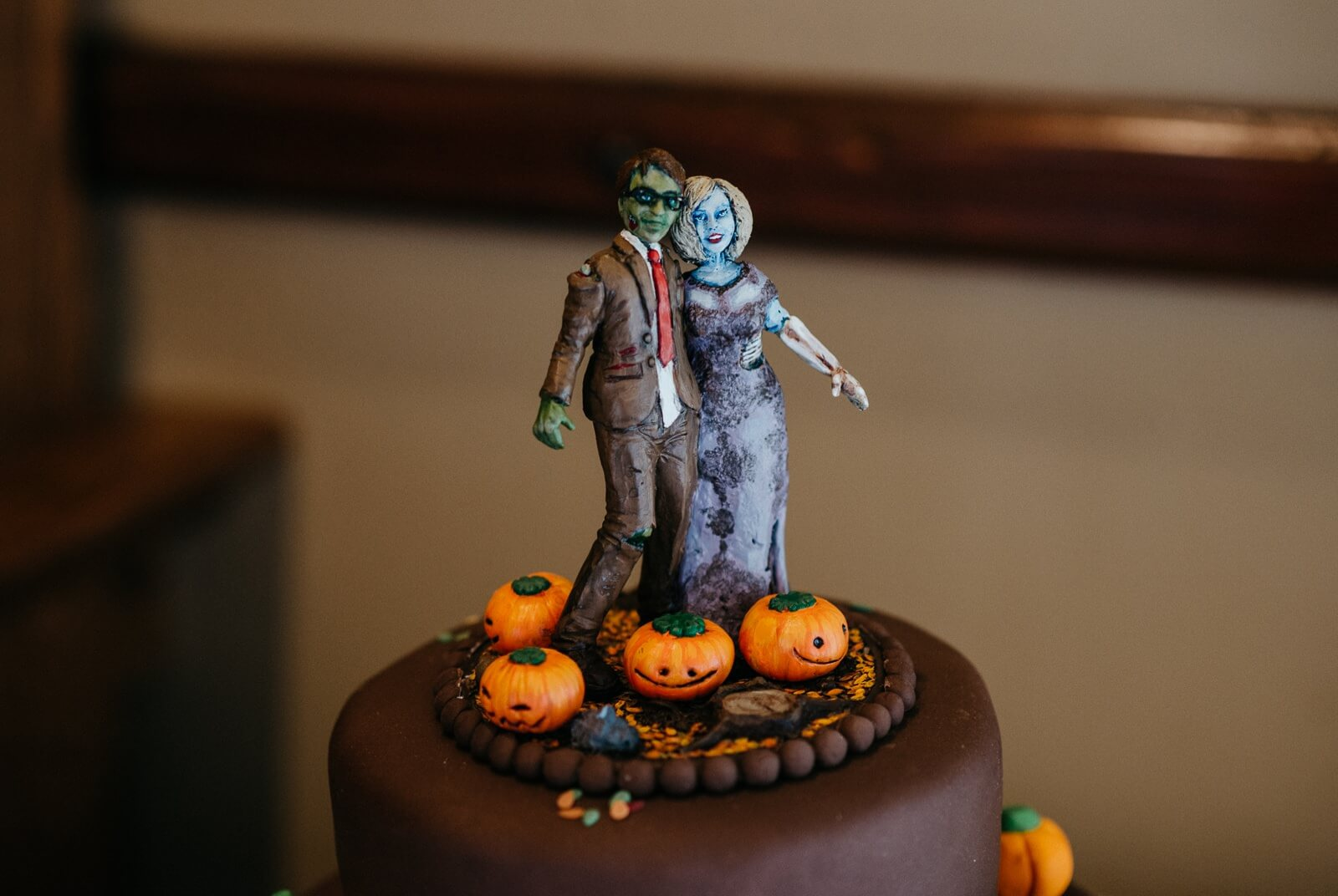Halloween zombie cake topper at Alternative Cardiff wedding