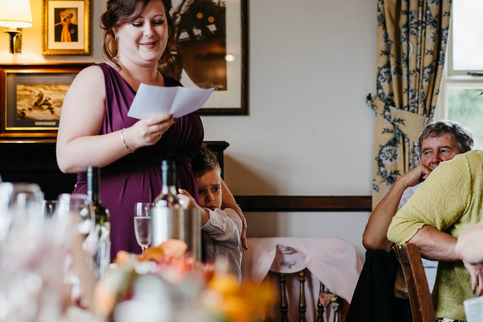 Maid of Honour and her son during her speech to Cardiff wedding guests at Ty Mawr