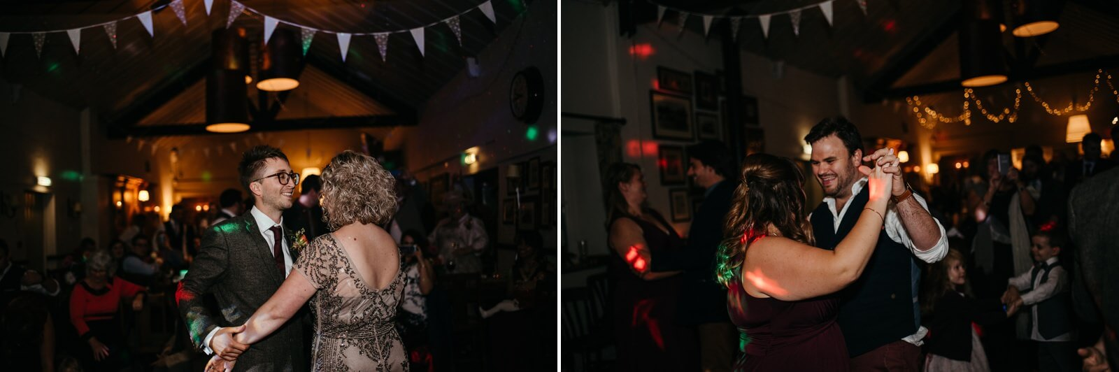 Bride and Groom and guests dancing at autumn halloween inspired wedding at Ty Mawr, Cardiff