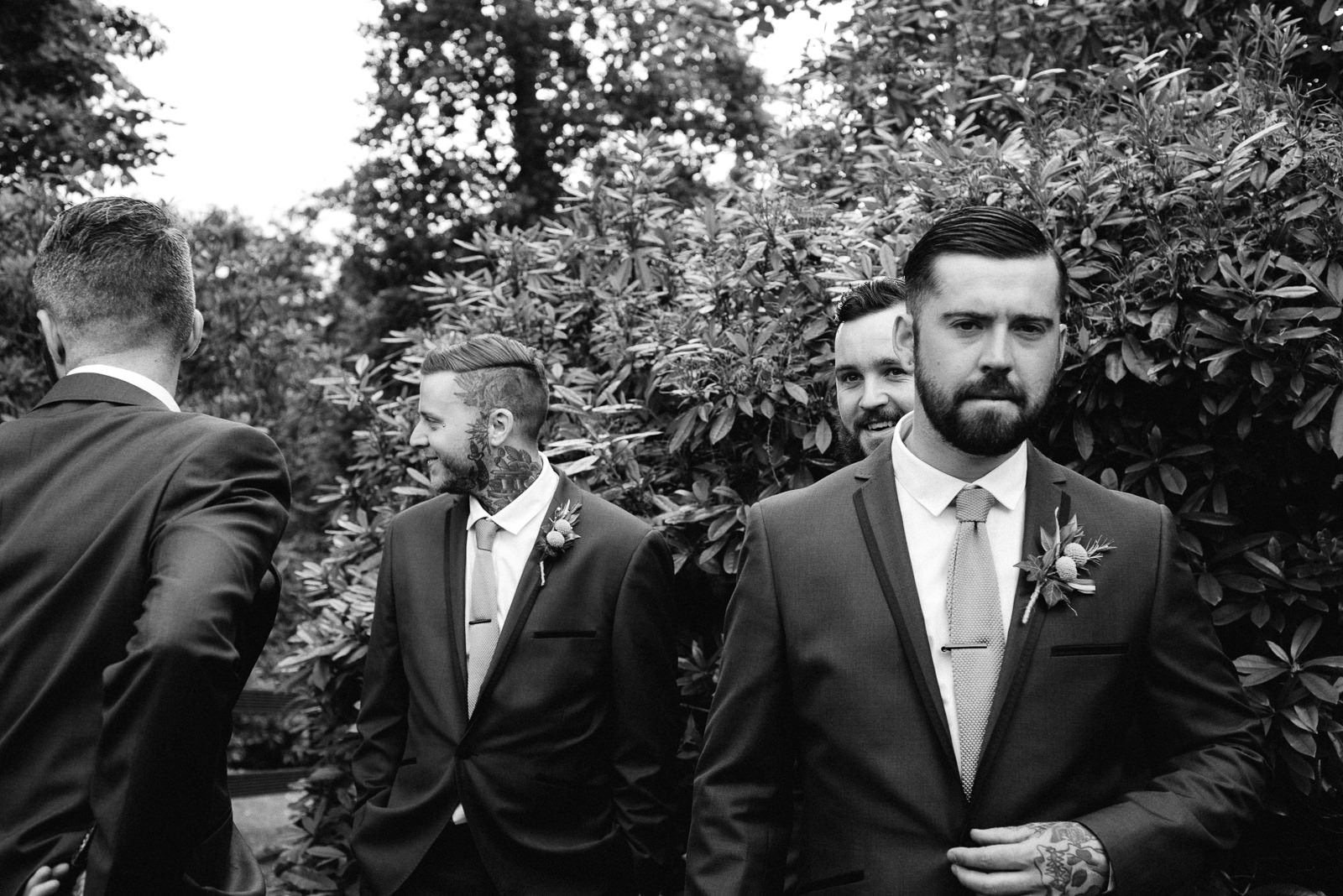 Groom moments before his Ayrshire bride arrives at Enterkine House Hotel