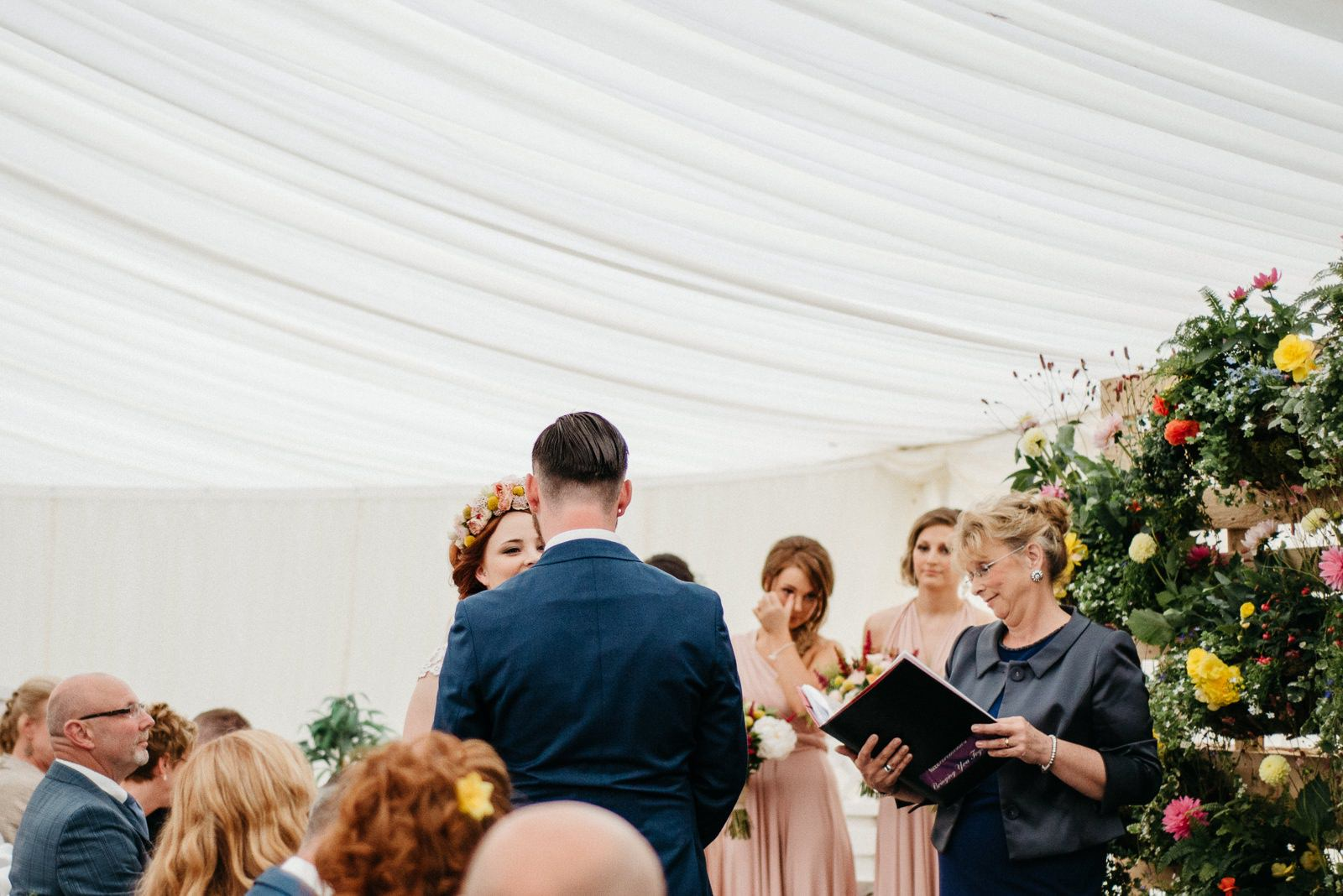 Bride and groom during their Enterkine House Hotel wedding ceremony