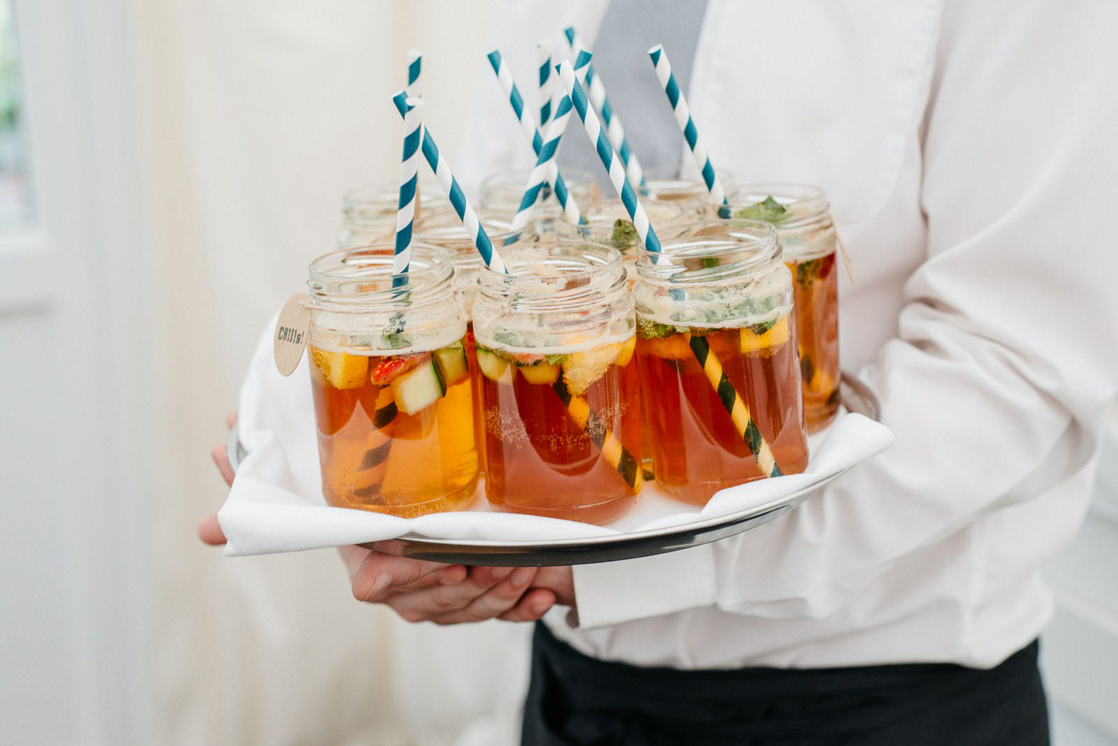 Cocktails in jars at alternative, quirky Ayrshire wedding