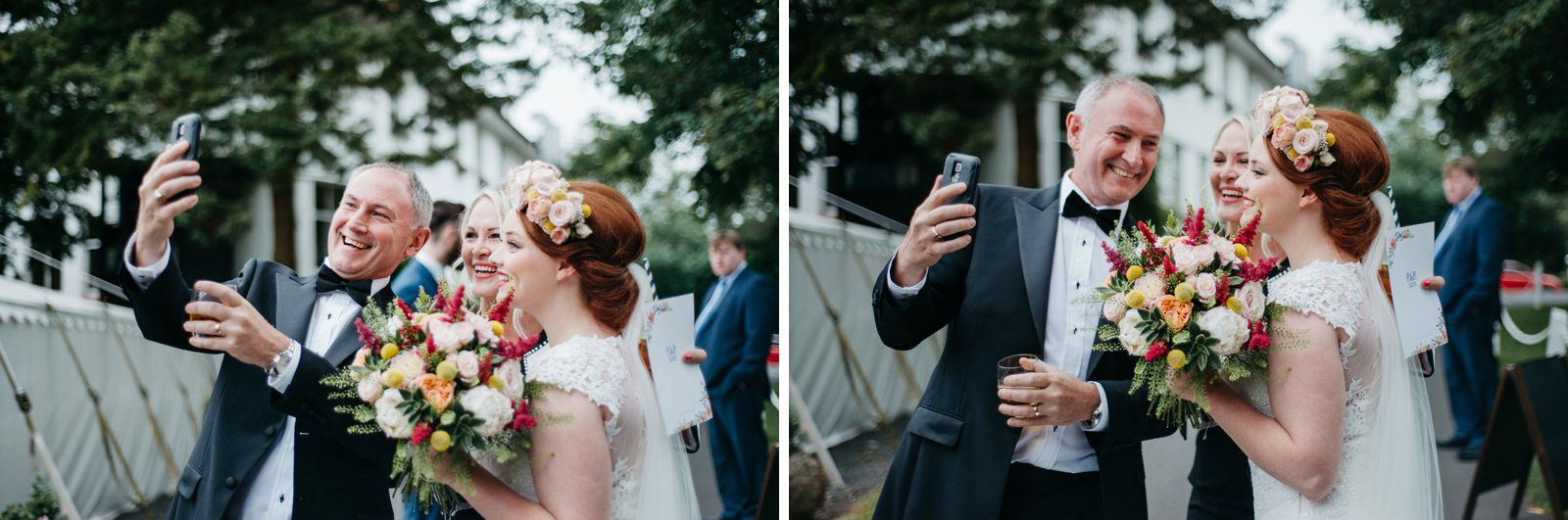 bride taking selfies with wedding guests at her Enterkine House Wedding