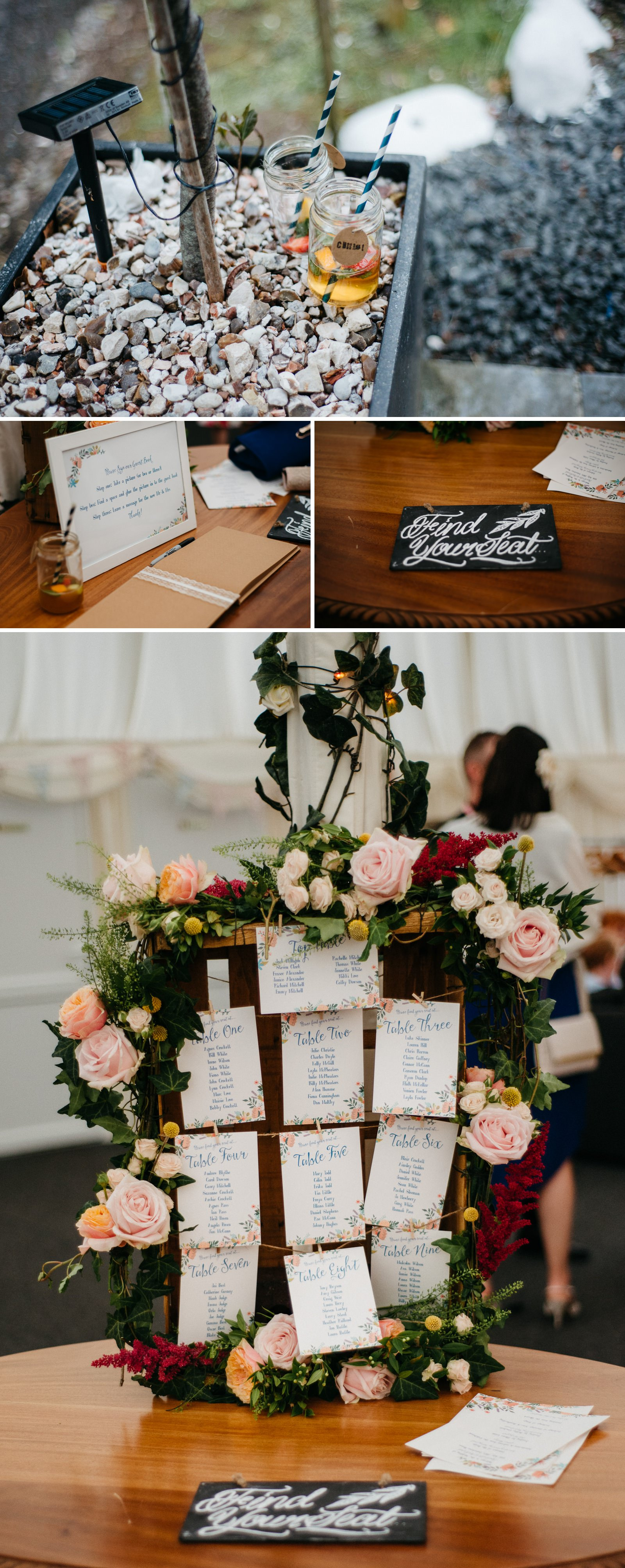 Rich wedding details including floral framed seating plan at Enterkine House
