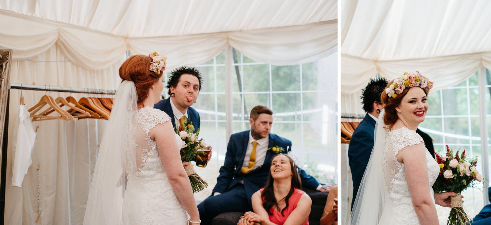Guests joking around during wedding reception