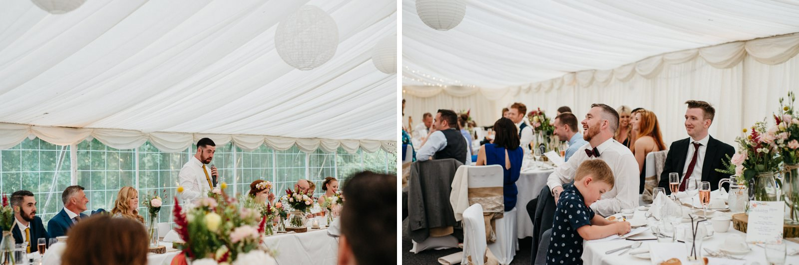 families during speeches at Ayrshire wedding