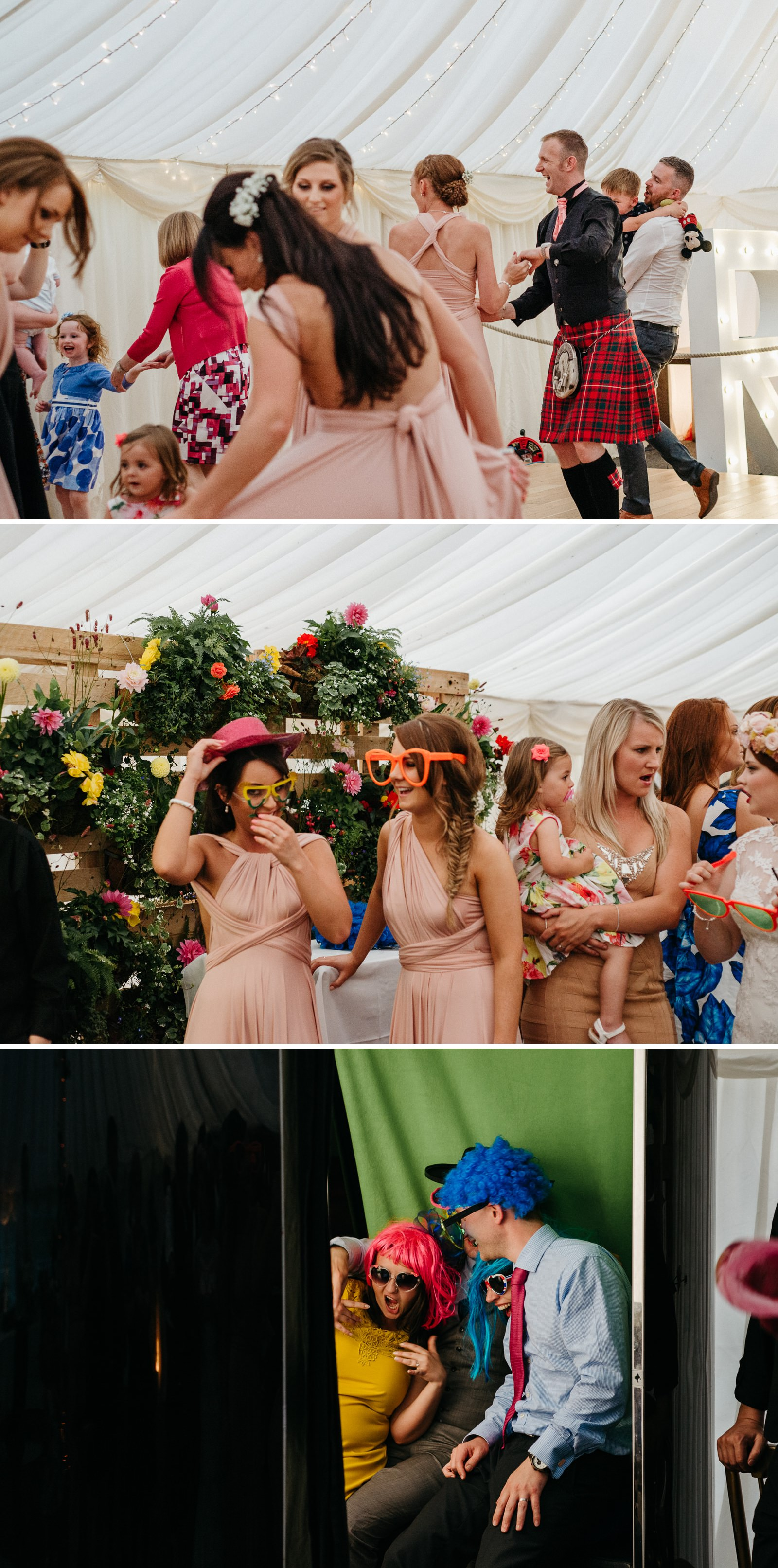 guests having fun at Ayrshire wedding