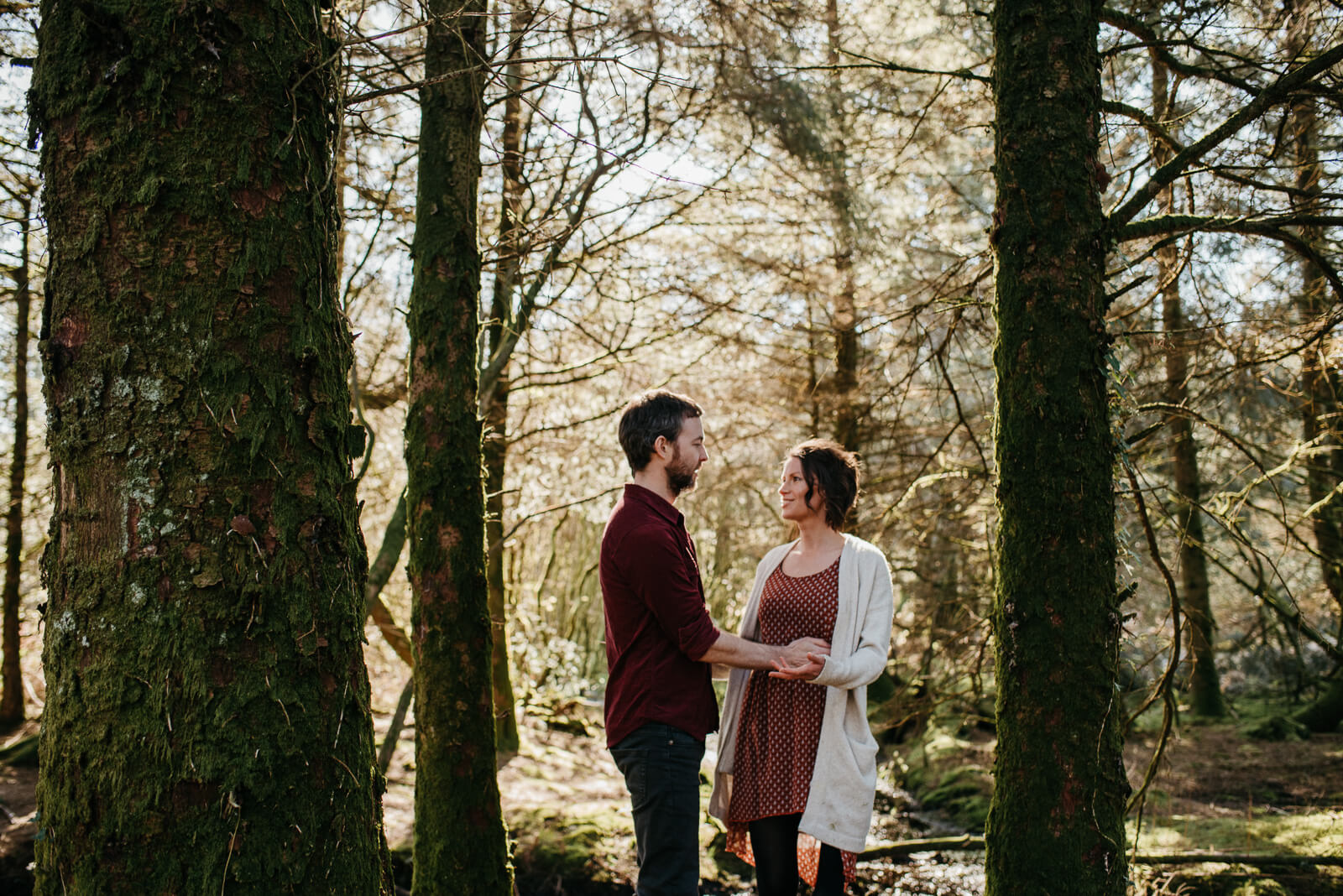 Ronan & Katie exploring Carmarthenshire country park during their relaxed, natural couple shoot