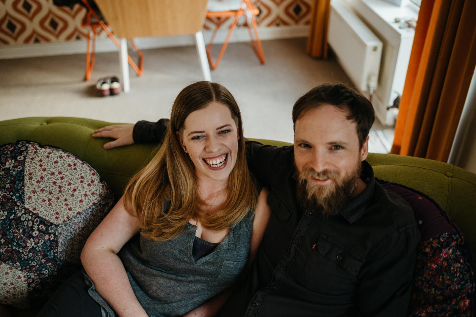 Relaxed couple photography shoot in their Glasgow home