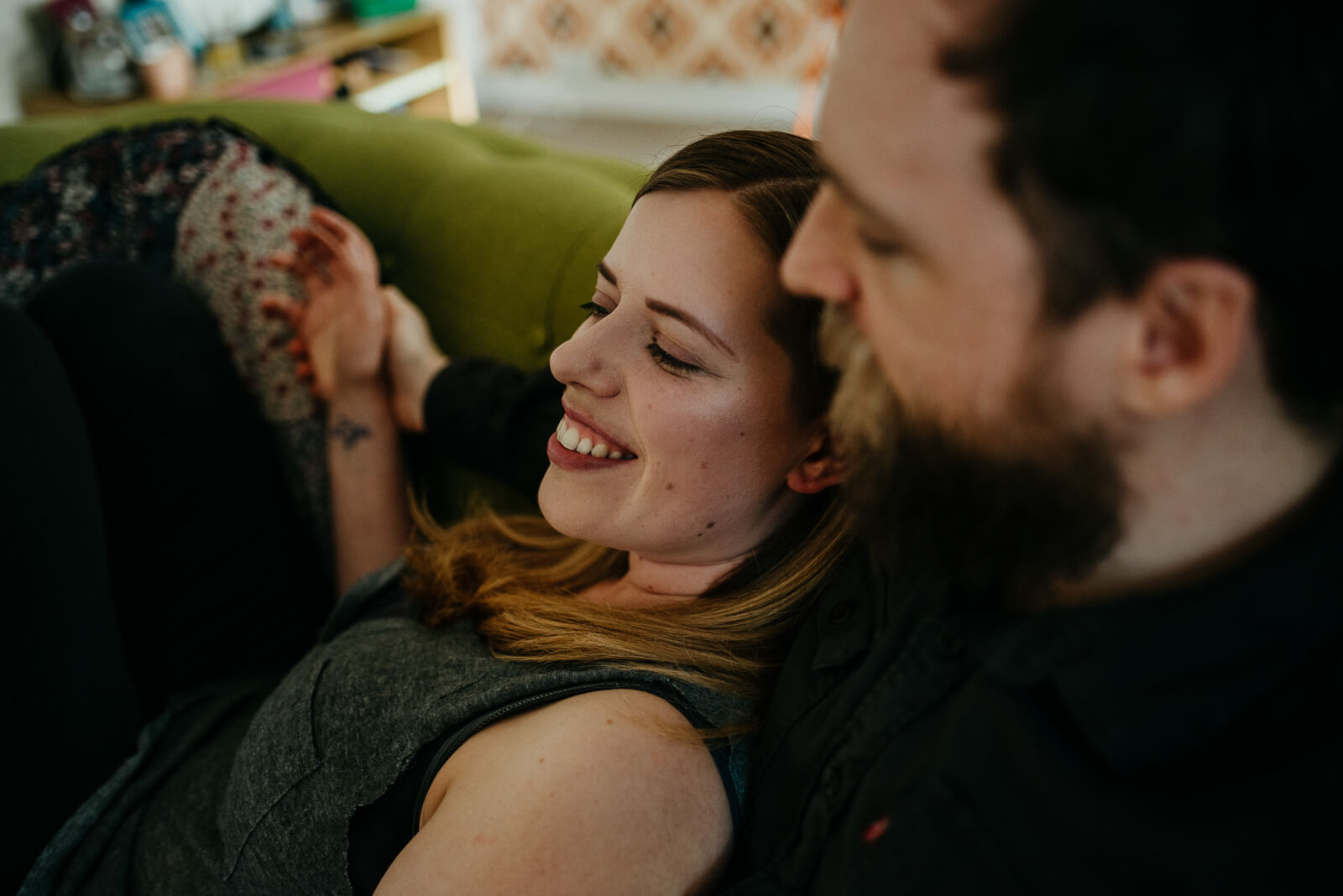 Sarah and Gary chilling out during their couple session in their Glasgow home