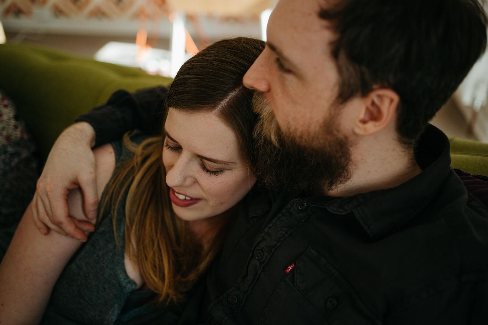 Sarah cuddling up to Gary during Glasgow couple shoot